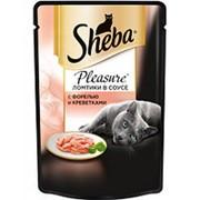 Sheba 85г пауч Pleasure Влажный корм для взрослых кошек Форель и креветки (соус) фото