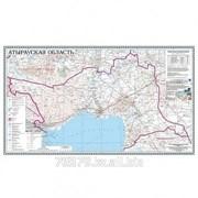 Карта областная Атырауская, масштаб 1:1 000 000, 500*830 мм, ламинированный фото