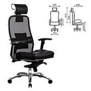 """Кресло для руководителя Metta """"Samurai"""" SL-3, с подголовником, сверхпрочная ткань-сетка/кожа, черное фото"""