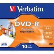 Диск DVD-R Verbatim 4.7Gb 16X JewelBox 10шт Print-White (43521) фото