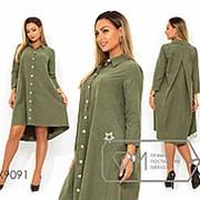 Платье женское с контрастной застежкой по всей длине и накладными карманами (3 цвета) -Хаки PY/-0147 фото