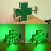 Зеленый светодиодный крест 450х450х80 мм фото