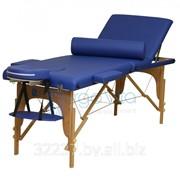 Складной массажный стол деревянный ErgoVita MASTER PLUS (3-х секц, синий)+ валик фото