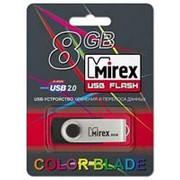 Флешка 8Гб USB 2.0 - Mirex - Swivel Rubber Black - чёрный-металлик фото