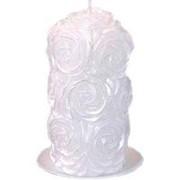 Свеча пеньковая В розах белая фото
