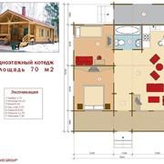 Проект одноэтажный коттедж 70 м² фото