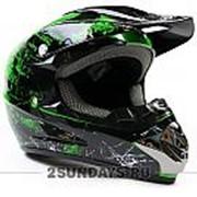 Детский защитный кроссовый шлем MOTAX S ( 49-50 см ) черно-зеленый фото
