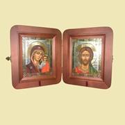 Складень деревянный №2 с венчальной парой (оплечный) (127*158) Арт. Ф4564 фото