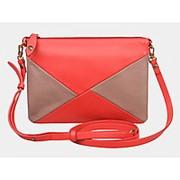 """Кожаная сумка """"Хелена"""" (красная с коричневым) фото"""
