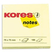 Блок-кубик Kores бум.для зам. 75х75 желтая 100л. '46075 фото