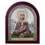 Beltrami Ксения Петербургская, святая блаженная, серебряная икона в деревянном окладе с позолотой и цветной эмалью Высота иконы 10 см фото