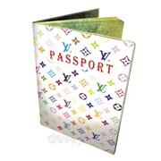 Прикольная обложка для паспорта Louis Vuitton белый фото