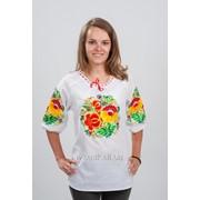 Женская украинская вышиванка Розочки 58 фото