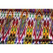 Ткань лавсан с ярким узбекским орнаментом фото