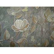 """Ткань Органза Гарден, """" молочная, бежевые цветы"""" фото"""