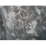 """Ткань Органза Гарден, """"белая, серые цветы"""" фото"""