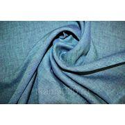Лен меланж бирюзово-синий фото