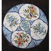 Керамические панно цветы птицы круглое