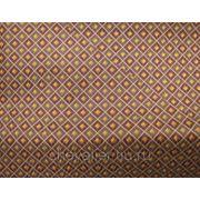 Шелк коричневый в мелкий ромб