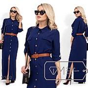 Женское платье макси с пояском (3 цвета) - Синий VV/-5462 фото