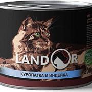 Landor 200г конс. Влажный корм для взрослых кошек Куропатка и индейка фото