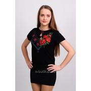 Женская футболка с вышивкой гладь+крестик, черная 42 фото