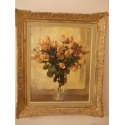 Антикварная картина Натюрморт с розами в вазе фото