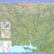 Миколаївська область. Фізична карта, м-б 1:200 000 (на картоне) фото