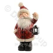Декорация Дед Мороз бордовый с фонарем 33x21x55cм фото
