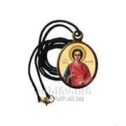Кулон с ликом св. вмч. Пантелеимона Целителя, нательная икона, образок фото