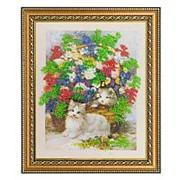 """Картина """"Котята в цветах"""" багет 32х38 см 4958 фото"""