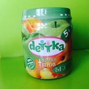 Пюре из яблока и персика для детского питания ТМ DETTKA фото
