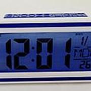 Часы с будильником 12:17 (t) (синий) фото