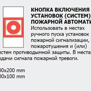 Знак пожарной безопасности указательный Кнопка включения установок фото