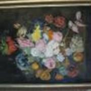 Натюрморт с цветами - 1970г х.м. р.90х70см. фото