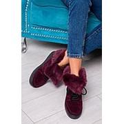 """Модные зимние ботинки с мехом кролика и вставками кожи """"хамелеон"""" (разные цвета) фото"""