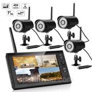 """Комплект беспроводного видеонаблюдения: видеорегистратор с 7"""" монитором и 4 видеокамеры KIT-HD74 300166 фото"""