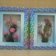 Коллаж Цветы серебро с перламутром в золотистой рамке со стеклом, арт. 01030/3 фото