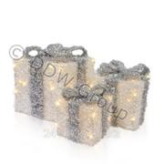 Декорация световая Подарки белые с срб.бантом фото