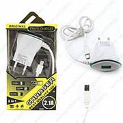 Сетевое Зарядное Устройство Travel Charger LED Micro USB+USB Blue (Синий) фото