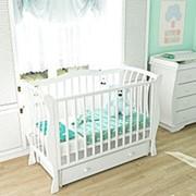 Детская кроватка из бука «CONTE» (с ящиком и универсальным маятником) фото