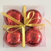 """Набор елочных шаров """"Зеркальный шелк"""", 4 шт, 8 см, красные глянц., (MILAND) фото"""