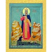 Благовещенская икона Александра, святая мученица, копия старой иконы, печать на дереве, золоченая рамка Высота иконы 11 см фото
