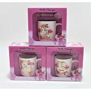 """Набор керамический """"Фламинго"""" кружка + ложка 14х14х7см. 01167 фото"""