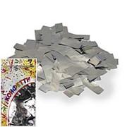 Конфетти фольгированное Прямоугольники серебро 2*5см 300гр фото