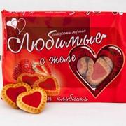 Печенье Любимое с клубничным желе фото