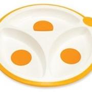 Тарелка для кормления, трех секционная набор 2 шт. Специальная форма краев, облегчающая кормление. Идеальный размер секций. Нескользящее основание. фото