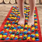 Детский массажный коврик с цветными камнями 150х40 см фото