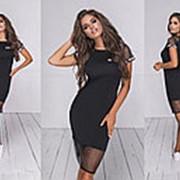 Женское комбинированное летнее платье (5 цветов) - Черный ТК/-24035 фото