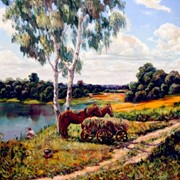 Сельский пейзаж маслом на холсте, живописная картина. фото